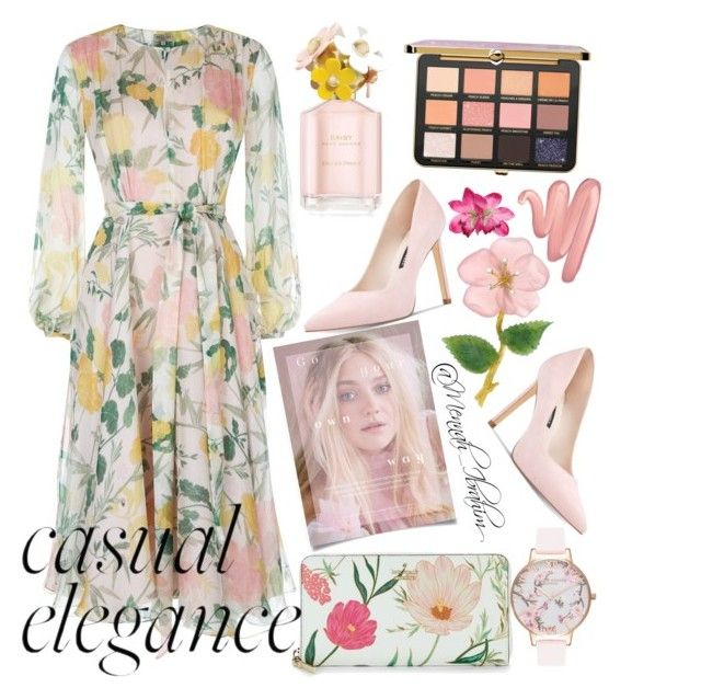 """""""#Flowery #feminine #Casual #Elegance"""" by mennah-ibrahim on Polyvore featuring Kate Spade, Nine West, Olivia Burton, Marc Jacobs and Lime Crime"""