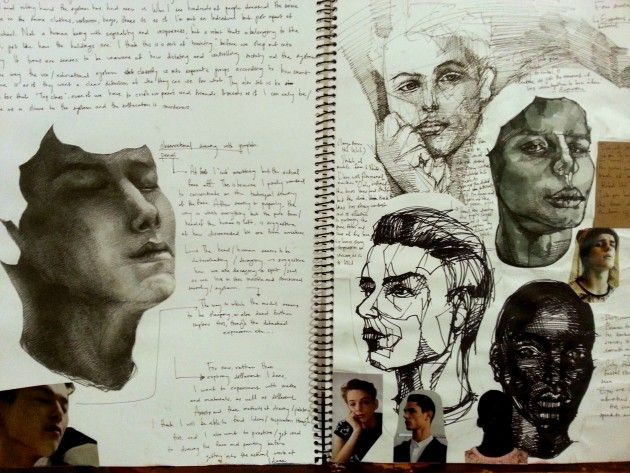 Outstanding sketchbook pages by Australian student Heesu Kim, VCE studio arts folio
