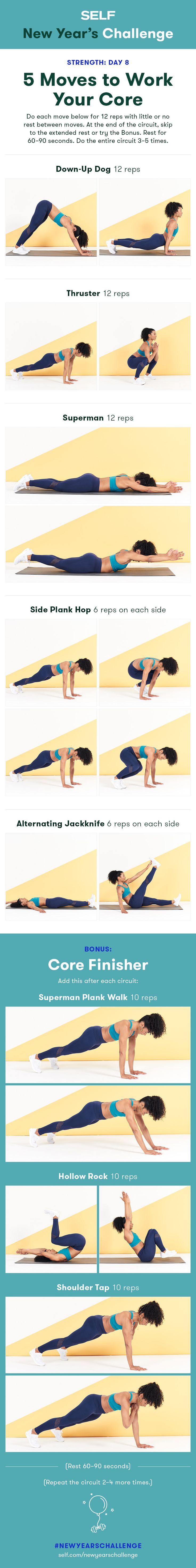 Welcome to our #NewYearsChallenge! Try this core workout for women with planks and yoga-inspired moves to strengthen your abs!