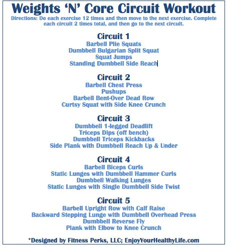 Weights 'N' Core Circuit Workout via @FitnessPerks: Circuit Workouts, Weights Circuit, Circuit Training, Circuit Weights Training, Training Workout, Workout Exerci, Cores Workout, Cores Circuit, Body Weights