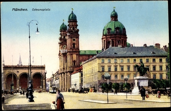 Odeonsplatz (Postcard around 1900) Munich, Germany. I lived in Munich, and except for the street it still looks the same.