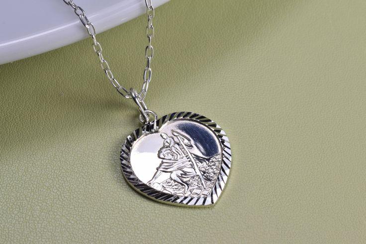 Sterling Silver, heart shaped St. Christopher medal necklace, everyday wear, by MistybyDesign on Etsy