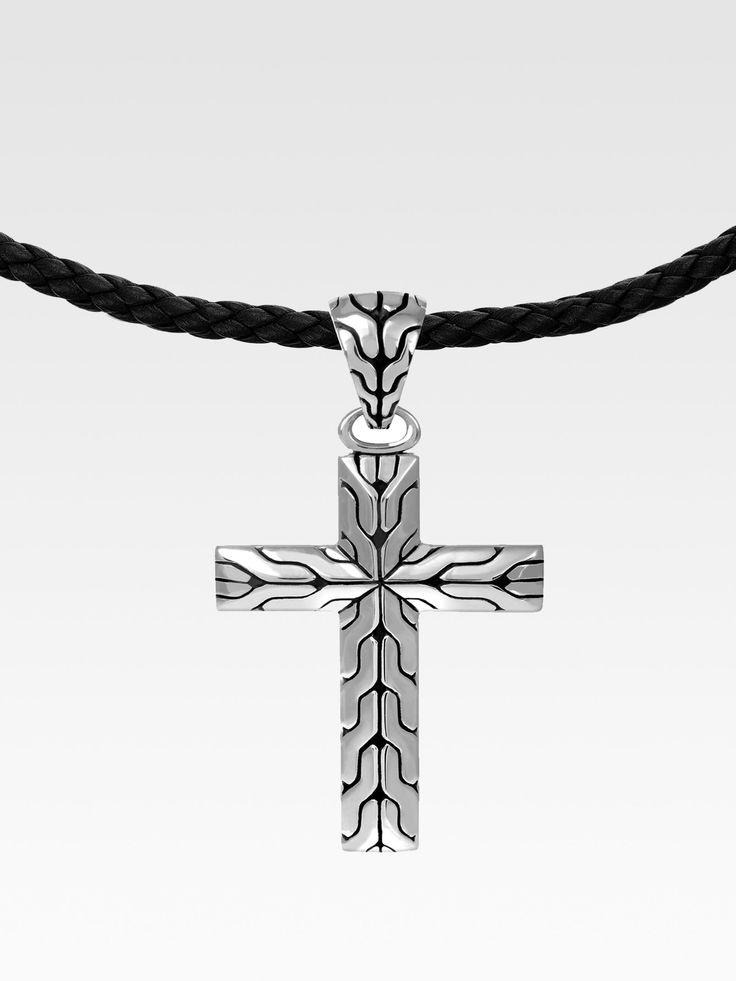 John Hardy Silver Cross Pendant Necklace in Black for Men (silver) | Lyst