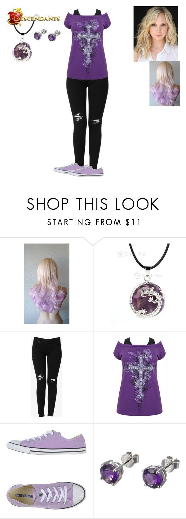 """""""Emma Snow-Cent - Daughter of Maleficent (Adopted by Elsa)"""" by maxinehearts ❤ liked on Polyvore featuring Hudson Jeans, Converse, EWA, OC and Decsendants"""