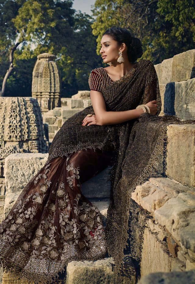 Pure imported fabric and net designer saree in chocolate color with velvet moti work blouse