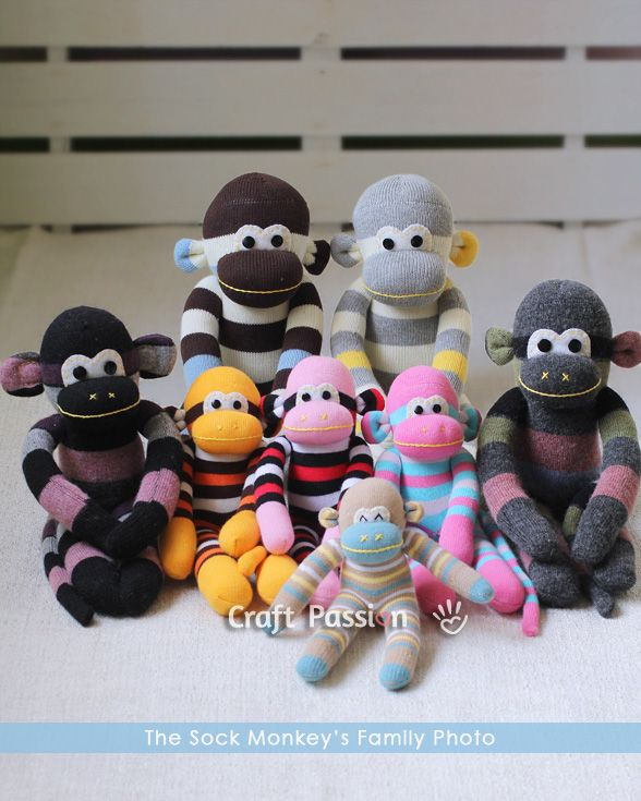 Sock Monkey Family, each made with a pair of socks