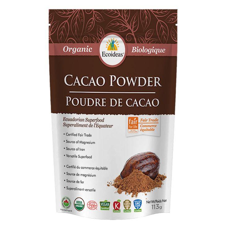 Poudre de cacao - Ingrédient : poudre de cacao biologique et issue du commerce équitable.  Origine : L'Équateur. -   Certifiée biologique par Ecocert Canada. -   Référence : 00058267 #Quebec #Santé #Beauté #Cadeau #Fête #Maison #Vacances #Voyage