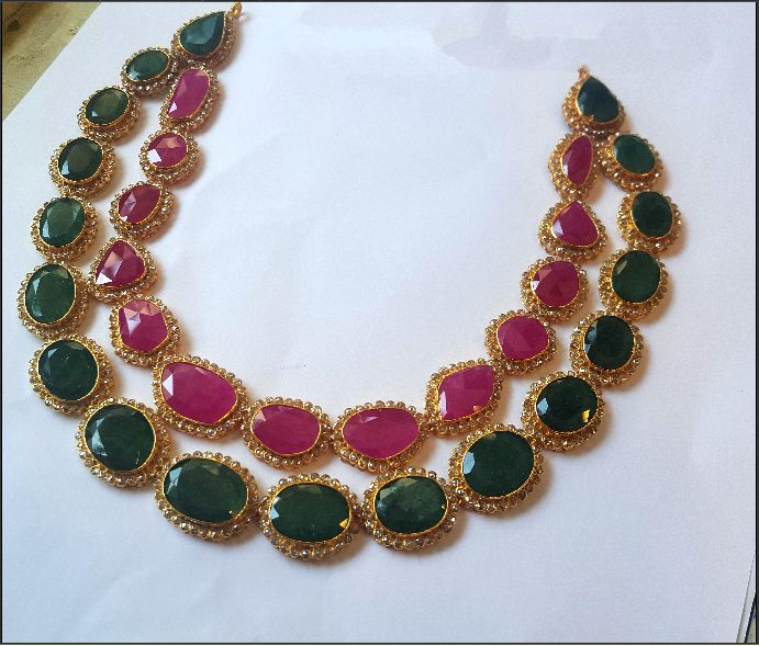 22k Gold Necklace Designs, 22K Gold Ruby Emerald Necklace Designs.