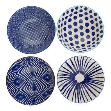 Elka Bowl   Set Of 4   Blue   12x12cm   Escape To The Hamptons @ The Home