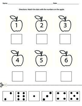 Cut and paste domino dots with the matching number.Perfect activity to teach numbers 1-6 or to reinforce number sense. Can be used in the Fall with the apple theme.