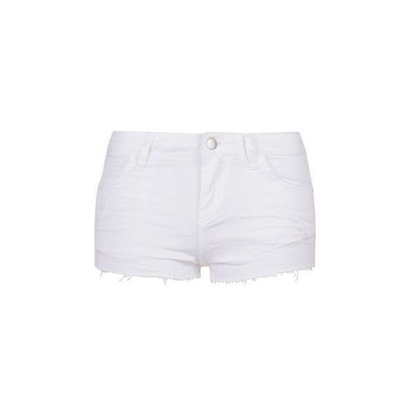 TopShop Moto White Rip Daisy Shorts ($35) ❤ liked on Polyvore featuring shorts, white, cut-off shorts, white ripped shorts, cut off shorts, topshop and destroyed shorts