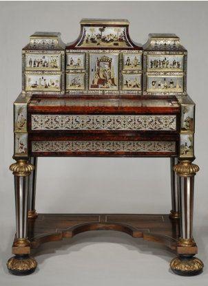 Unique Schreibtisch und zugeh riger Aufsatz mit der Darstellung fern stlicher Szenen Hendrik van Soest zugeschrieben