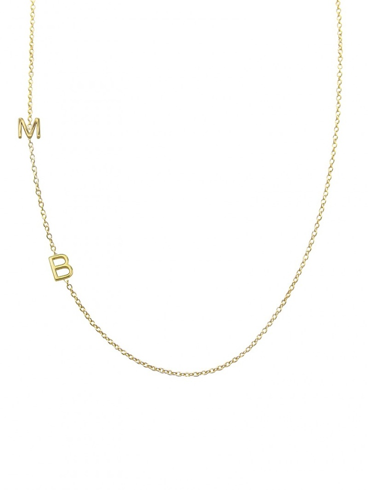 Maya Brenner mini letter necklace - so precious!! via BaubleBar