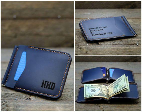 Personalized Mens Money Clip Wallet  - Genuine Leather Money Clip Wallet