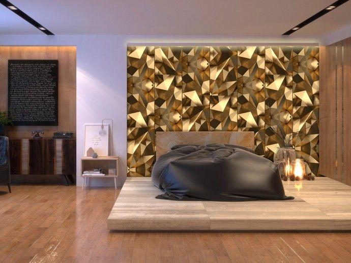 """Couleur dorée + éclat = effet glamour ! Si vous cherchez une décoration chic pour votre salon ou chambre à coucher, le papier peint """"Illusion dorée"""" sera une solution parfaite. #papierpeint #papierspeints #illusion #doré #motifgéométrique #effetglamour #styleglamour #bimago"""