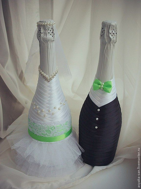 Купить Свадебные бутылочки - ярко-зелёный, бутылочка, свадебные аксессуары, атласная лента, фатин, бусины