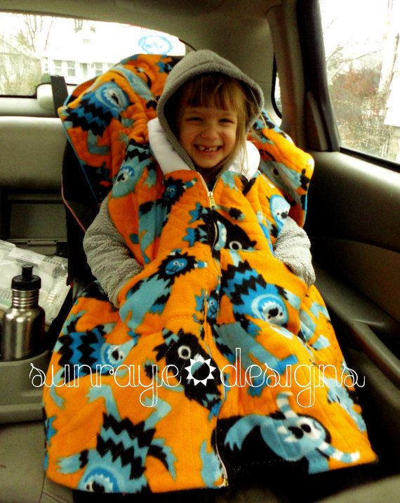 CUSTOM Car Seat Ponchos - Hooded Car Seat Blanket -  Reversible - Quilted. $70.00, via Etsy.
