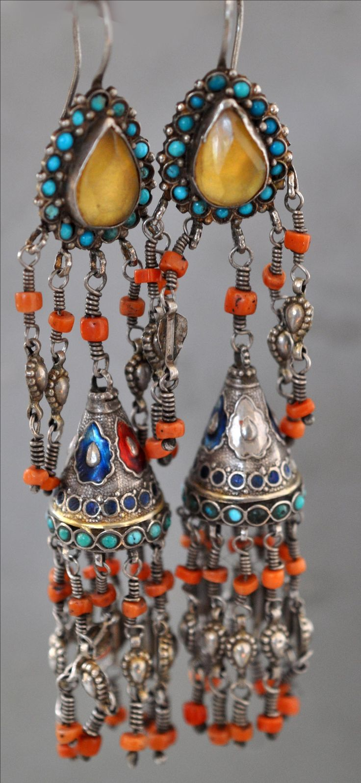 Uzbek gilt silver, enamelling, coral, turquoise with faux topaz earrings 19th c (private collection Linda Pastorino)