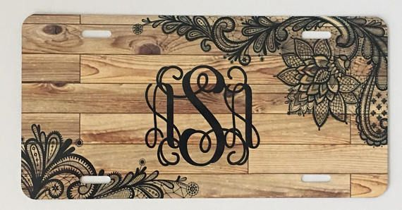 Personalized Wood Background with Black Lace Monogrammed