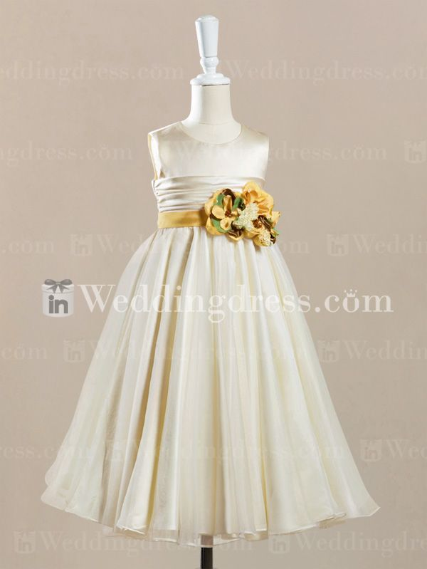 @wendy612 baby cute flower girl dress_Ivory/Canary