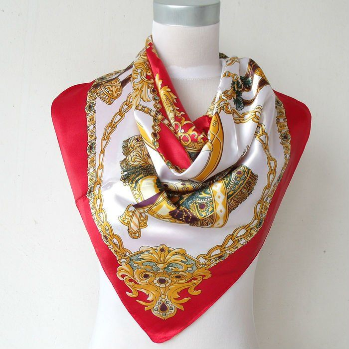 2013 New Arrival The Most Popular Brand Satin Big Square Scarf Printed For Ladies,Fashion Women Polyester Red Silk Scarf 90*90cm