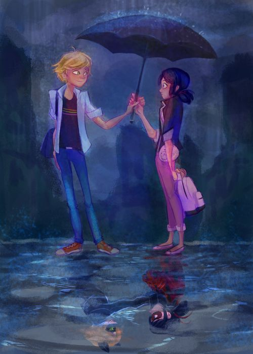 (Miraculous: Tales of Ladybug and Cat Noir) Adrien/Cat Noir and Marinette/Ladybug
