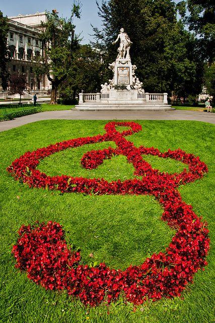 Mozart-Statue in the Burggarten castle garden, Vienna, Austria