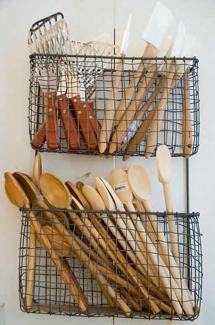 Putting utensils in baskets                                                                                                                                                     More