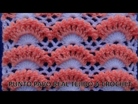 Punto a crochet # 2  punto pavo real a crochet o ganchillo paso a paso- points crocheted - YouTube