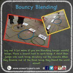 Need to practise blending in a fun, physical way? Try 'Bouncy Blending'! Lay out how ever many hoops you need for the number if sounds. Put one sound next to each hoop in order. Then ask a child to bounce into each hoop and shout the sounds. They orally blend the word as they jump out of the last hoop! #eyfs #earlyyears #earlyyearsliteracy #earlyreading #phonicgames #phonics #outside #aceearlyyears