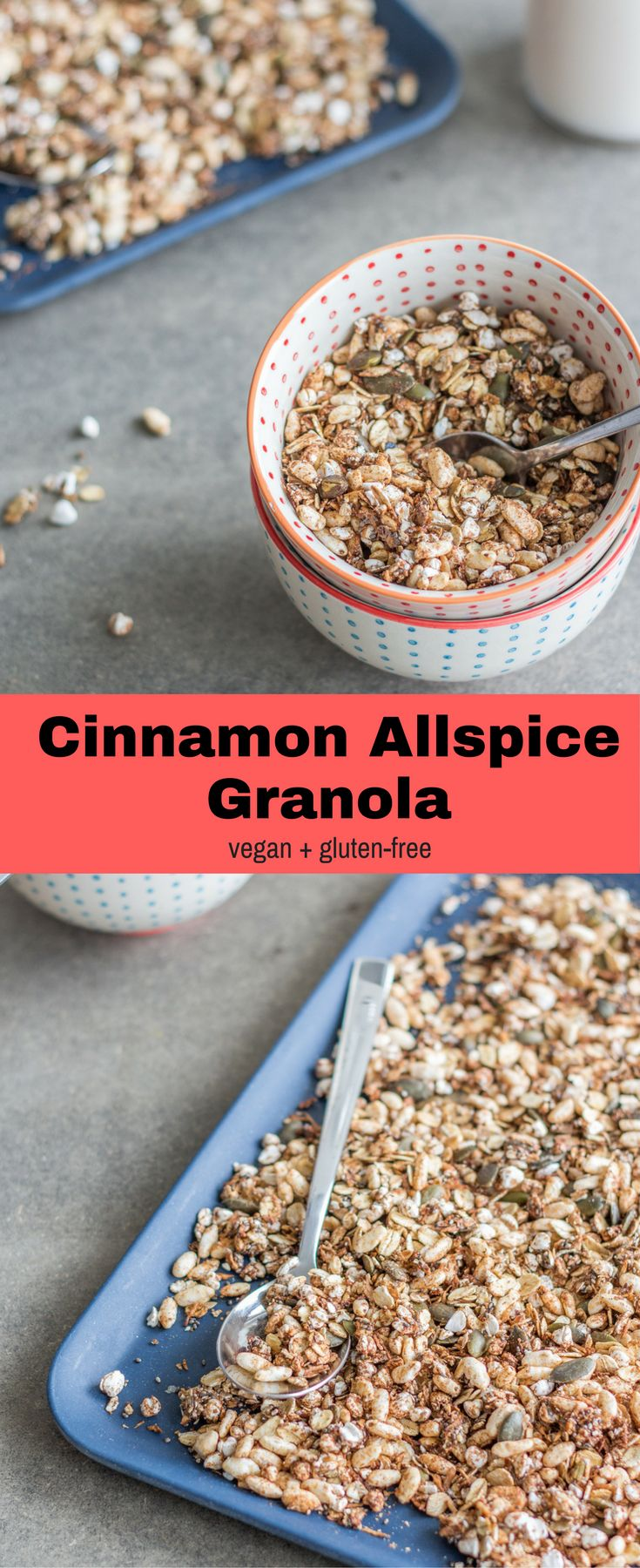 This Cinnamon Allspice Granola is super simple, crunchy, flavourful, and customisable. It's the perfect healthy breakfast or snack. Vegan + gluten-free!Healthy vegan recipes | healthy  | vegan | snack | breakfast | recipes | vegetarian | The Mostly Healthy |