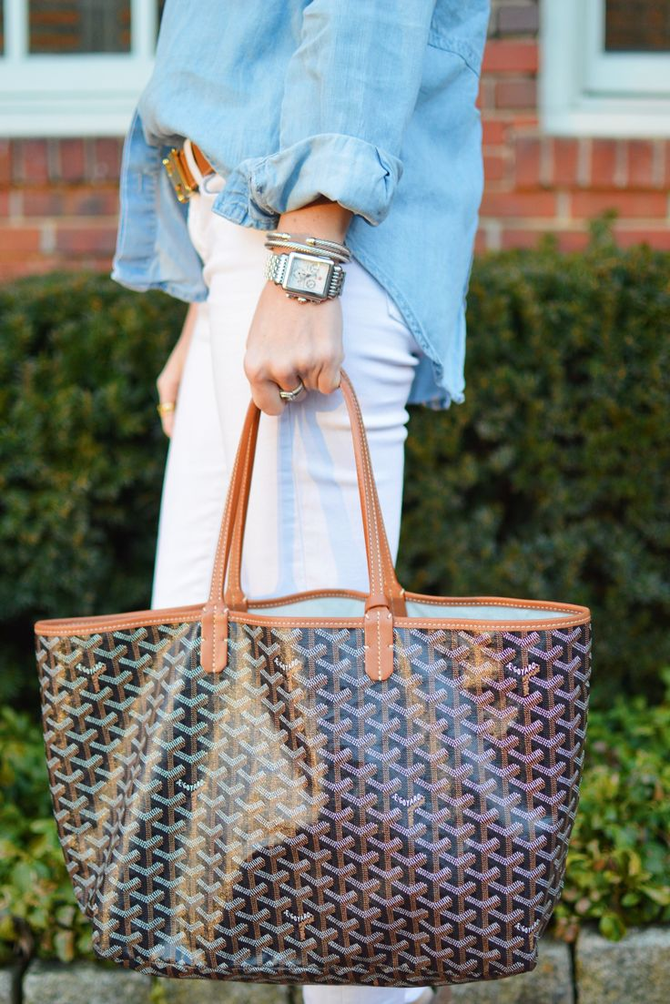 white jeans chambray top goyard st. louis tote ash sneakers wedge michele deco watch