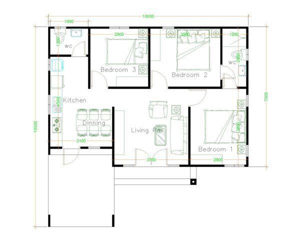 House Design 10x10 With 3 Bedrooms Hip Roof House Plans 3d Unique House Plans Small House Design Plans Home Design Plans