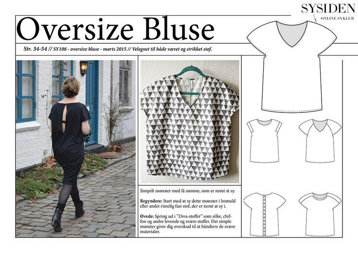Symønster på Oversize bluse og kjole: #SY108 Normalpris: 119, – kr. Medlemspris (med rabatkode): 99, – kr. –> …