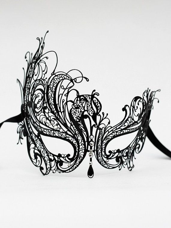 Luxury Black Metal Filigree Masquerade Ball Mask with Diamante Crystals by DaisyCombridge