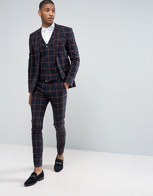 a64dce4b8f561 ASOS Super Skinny Suit Jacket In Navy With Orange Windowpane Check ...