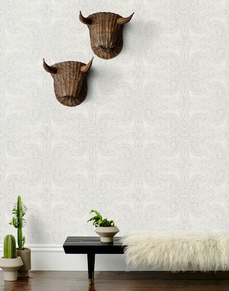 Hygge & West | Andanza (White/Silver) wallpaper by Laundry