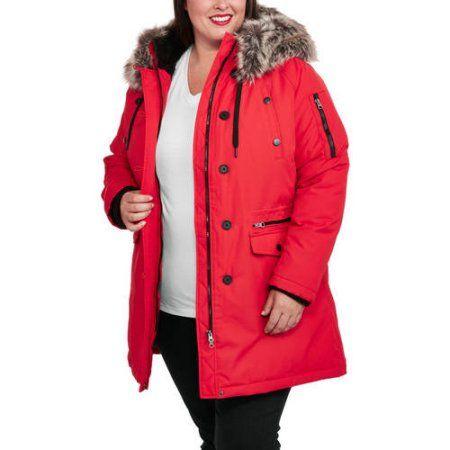 Faded Glory Women's Plus-Size Heavyweight Fur-Trim Parka Coat, Size: 2XL, Red