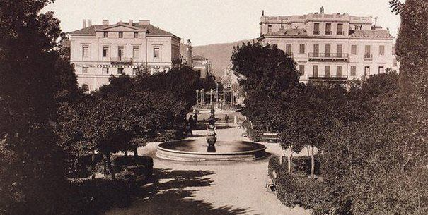 Ermou str. 1890. Behind the trees there are Victoria Hotel and Grand Hotel d' Angeterre.