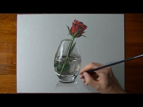 How I draw a red rose - YouTube