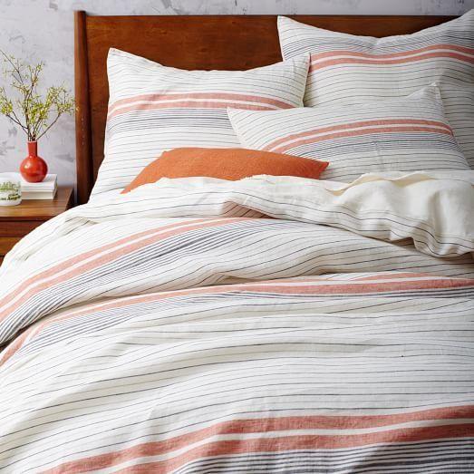 Motley Striped Belgian Linen Duvet Cover And Shams In Grey