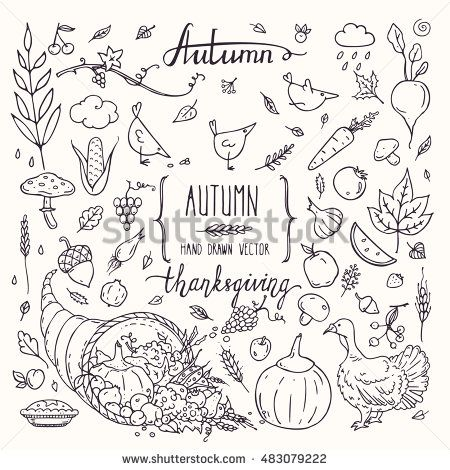 25 unique autumn doodles ideas on pinterest simple animal thanksgiving traditional symbols in doodle style autumn collection of hand drawn design elements for greeting pronofoot35fo Gallery