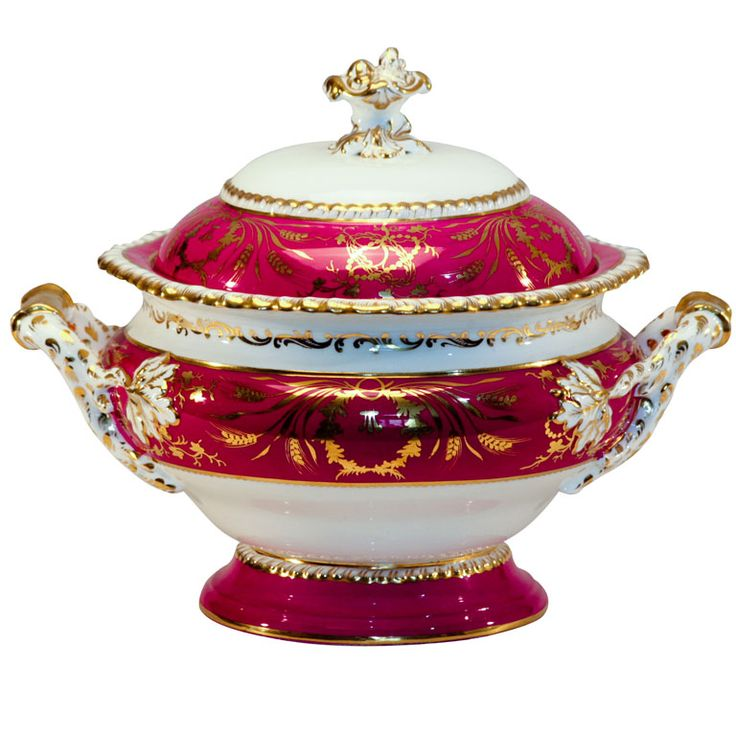 Magnificent 19th C Coalport Raspberry Ground Soup Tureen