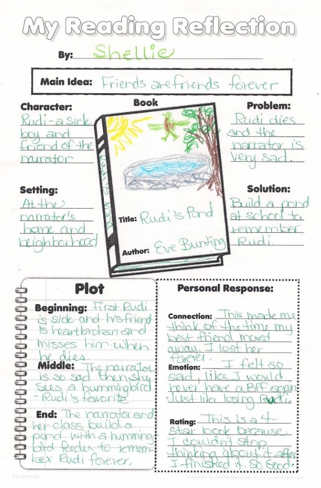 Elementary Fiction Book Report Poster for Reading Assessment