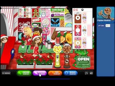 Papa's Donuteria Rank 85 Game. Play game at http://www.y8-games.name/papas-donute.... Papa s Donuteria is a game for girl. You just got a job at Papa s Donuteria with great pay and benefits, but you took the job for that coveted Line-Jump Pass. Unfortunately, now you have to cook dozens of delicious donuts a day for all the crazy customers in this carnival-like town. Cut out the donuts, fry em up, and decorate them with a dizzying array of toppings.