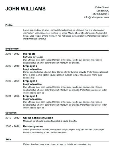 Free Resume Templates No Fees Free Resume Templates Pinterest