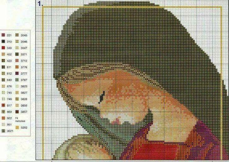 Hobby lavori femminili - ricamo - uncinetto - maglia: schema punto croce  madonna con bimbo