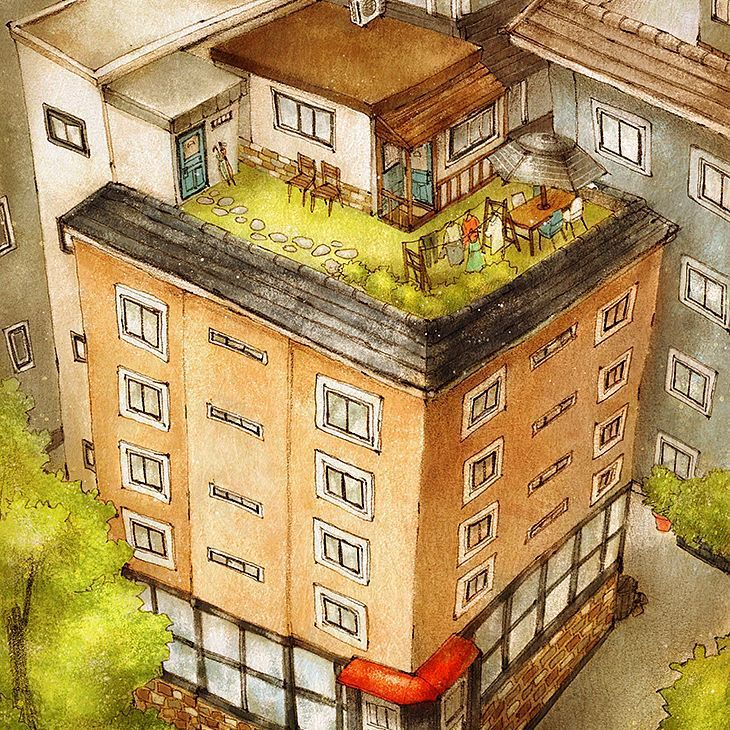 #illust #illustration #drawing #sketch #aeppol #the housetop #rooftop #residential #building #일러스트 #일러스트레이션 #옥상 #옥탑방 #옥상정원 #애뽈