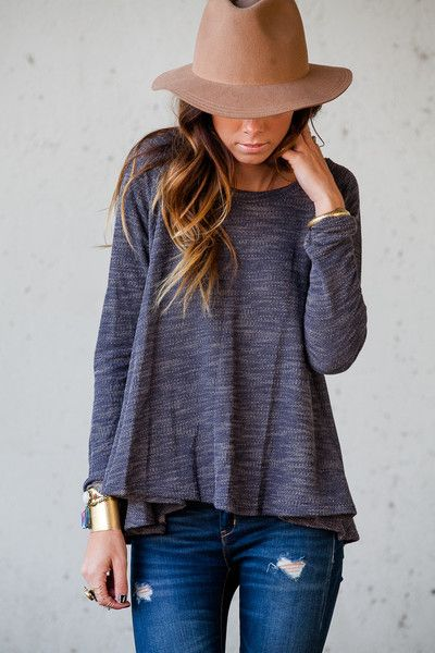 // casual sweater top, ripped jeans, boho hat //