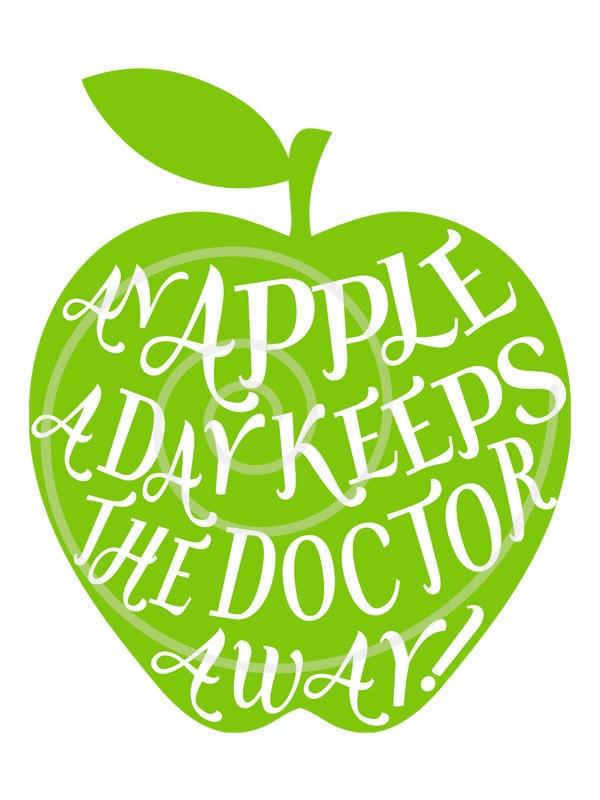 An apple a day keeps the doctor away digital clipart door Illustree
